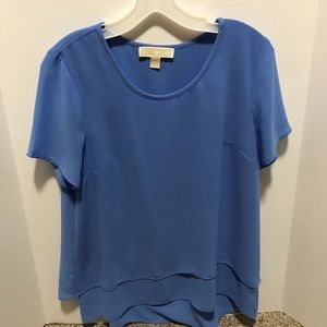 Micheal Micheal Kors blue crew neck blouse Sz med